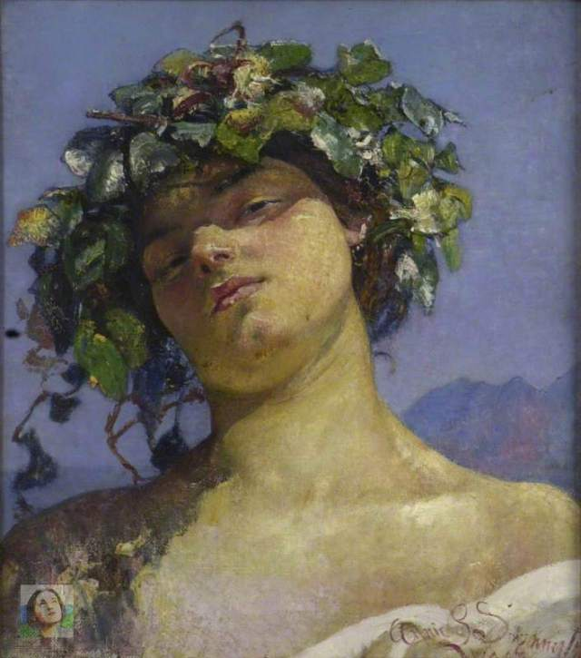 Swynnerton, Annie Louisa, 1844-1933; Head of a Bacchante