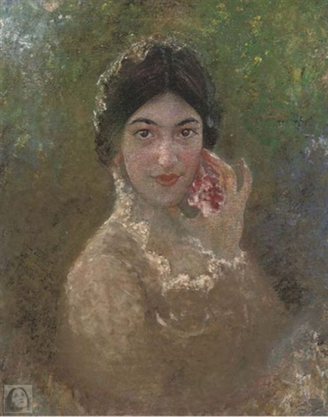 Portrait of a lady holding a flower WM.jpg