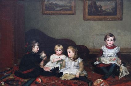 Interior with four young girls